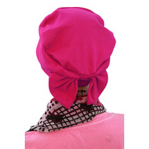 Two Way Cap With Removable Bow in Fuchsia