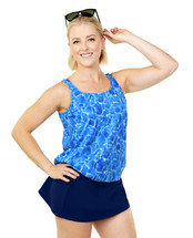 THE Mastectomy Blouson Swim top separate  in Shimmering Seas