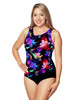 Draped Mastectomy Swim Tank by T.H.E. in Morning Glory Print