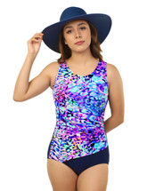 Draped Mastectomy Swim Tank by T.H.E. in Caribbean Cruise Print