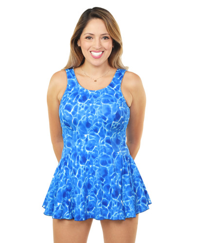 Princess Mastectomy Swimdress by T.H.E. in Shimmering Seas print