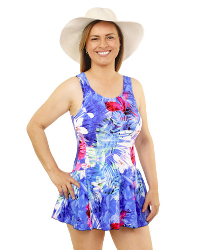 Princess Mastectomy Swimdress by T.H.E. in Hawaiian Holiday print
