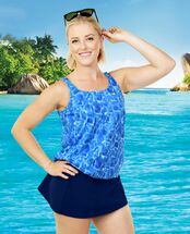 THE Mastectomy Swimwear - Women's Sizes - Blouson Swim Top separate - Shimmering Seas Print