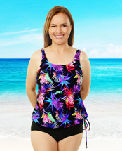T.H.E. Blouson Mastectomy Swim Top Separate in Morning Glory Print - Women's Sizes