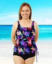 T.H.E. Blouson Mastectomy Swim Top Separate in Morning Glory Print - Women's Sizes