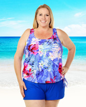 THE Mastectomy Swimwear - Women's Sizes - Blouson Swim Top separate - Hawaiian Holiday Print