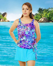 T.H.E. Blouson Mastectomy Swim Top Separate in Caribbean Cruise Print - Women's Sizes