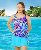 T.H.E. Blouson Mastectomy Swim Top Separate in Caribbean Cruise Print - Women's Sizes