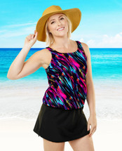 THE Mastectomy Swimwear - Women's Sizes - Blouson Swim Top separate - Hawaiian Holiday Print