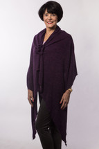 Long Dark Purple Sweater Chemo Wrap
