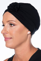 Black Headwrap with Black Rose by Wrapped in Love
