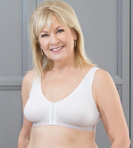 American Breast Care Mastectomy Post-Surgical/Leisure Bra in beige & white