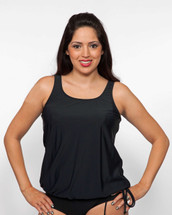 Classic Black Blouson Mastectomy Swim Top Separate by T.H.E. - Black