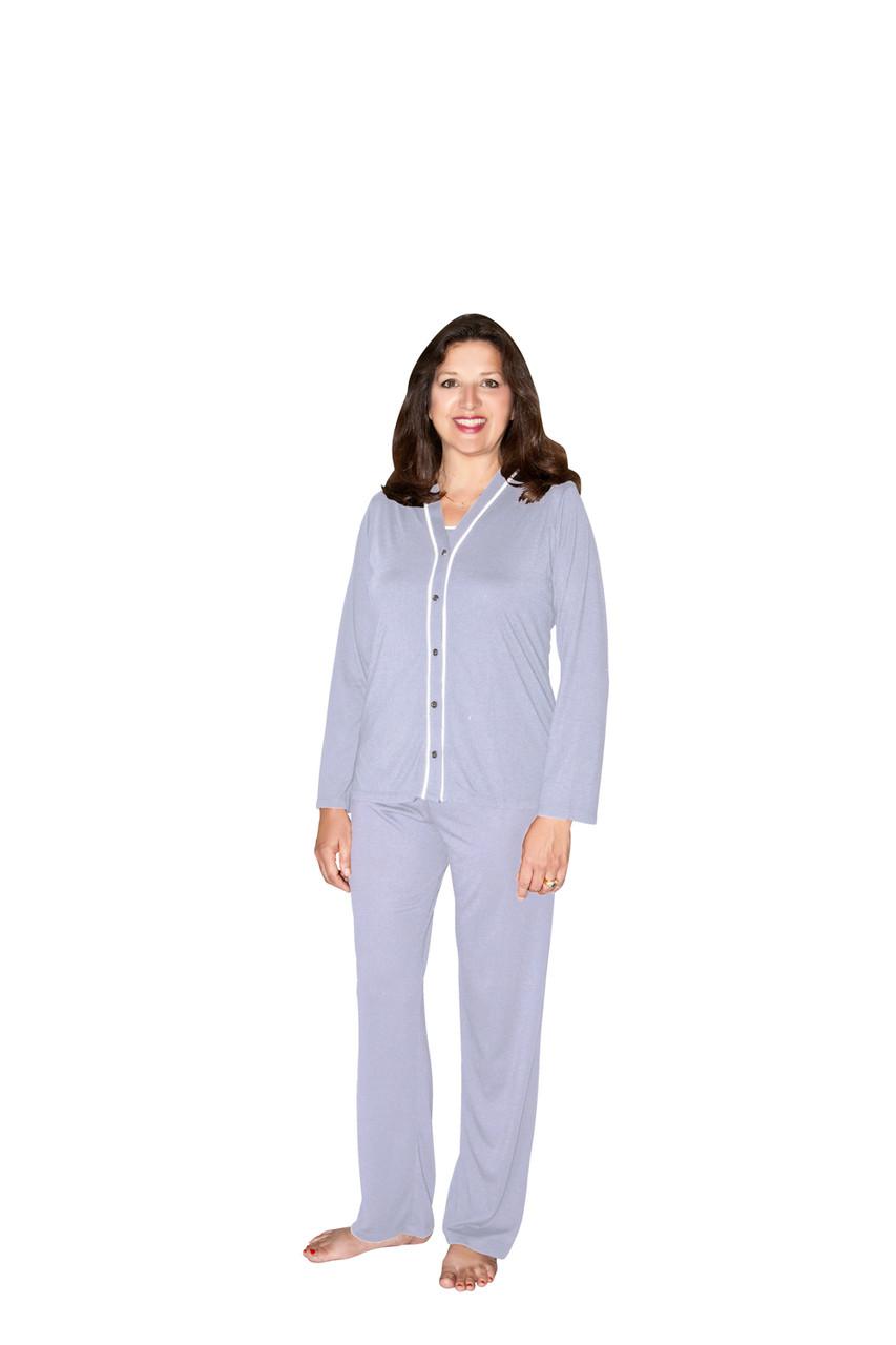 Cool-jams Wicking Jillian 3 Piece Pajama Set in Lilac or White 441ca797d