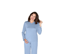 Cool-jams Mix and Match Long Sleeve T-Shirt in Periwinkle, Turquoise, and black