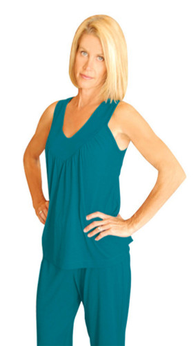 Cool-jams Ladies Gathered Tank in white, Black, Turquoise, Periwinkle, and Pink