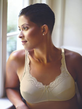 American Breast Care Mastectomy Lace Front Bra in black, beige, and white