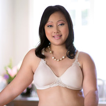 American Breast Care Seamless Petite T-Shirt Mastectomy Bra in black, Beige, and white