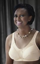 American Breast Care Mastectomy Bra in Basic M-Frame in black, beige, and white
