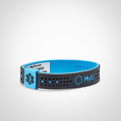 MyID Sport Kids Medical ID Bracelet with medical online profile by ENDEVR - Grey/Blue