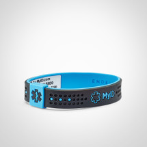 MyID Sport Kids Medical ID Bracelet with medical online profile by ENDEVR - Grey/Blue