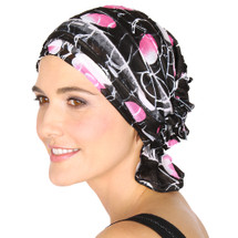 Delia Ruffle Chemo Beanie - Black with Pink Circles Ruffle