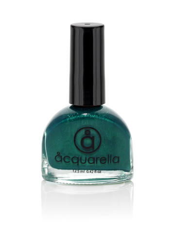 Water based nail polish called Donner by Acquarella - teal blue