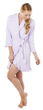 Softies short ruffle robe perfect for lounging or sleeping, with a concealed drawstring. Comes in Peony Pink or Turquoise.