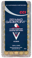 Game Point .22 Winchester Magnum Rimfire 40 Grain Jacketed Soft Point - 076683000224
