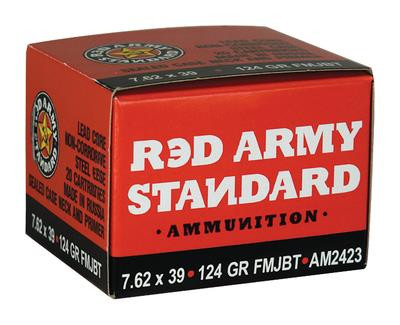 Red Army Standard Made in Russia 7.62x39mm 124 Grain Full Metal Jacket Boattail 20 Round Per Box/1000 Rounds Per Case - 787450431775