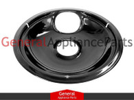 "ClimaTek 8"" Black Porcelain Burner Drip Pan Bowl Replaces Frigidaire Kenmore Gibson # 318067075"