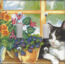 Black & White Cat in Window - Double Switch