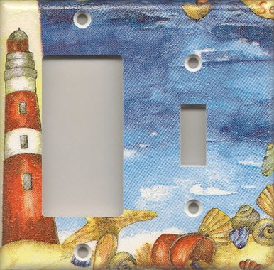 Red Lighthouse with Shells - Double Combo GFI/Rocker & Switch