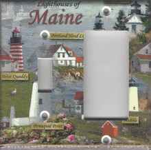Lighthouses of Maine Double Combo Switch & GFI/Rocker