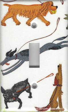 Cartoon Dogs - Greyhound, Boston Terrier - Single Switch