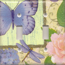 Purple Dragonfly & Butterfly - Double Switch