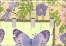 Purple Dragonfly & Butterfly - Triple Switch