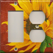 Sunflowers - Red - Double Combo GFI & Outlet