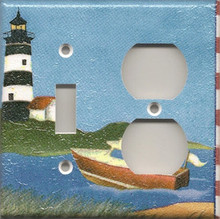 Black Lighthouse with Boat - Double Combo Switch & Outlet