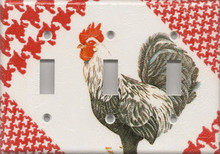 Black & White Rooster - Triple Switch