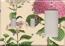 Pink Hydrangea - Triple Combo Switch & Switch & GFI/Rocker