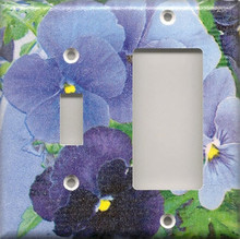 Purple Pansies - Double Combo Switch & GFI/Rocker