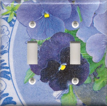 Purple Pansies with Plate - Double Switch