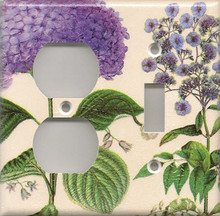 Purple Hydrangea - Double Combo Outlet & Switch