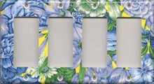 Blue & Yellow Flowers - Quadruple GFI/Rocker