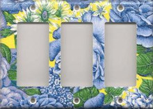 Blue & Yellow Flowers - Triple GFI/Rocker