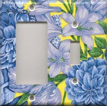 Blue & Yellow Flowers - Double Combo GFI & Switch