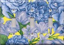 Blue & Yellow Flowers - Triple Switch