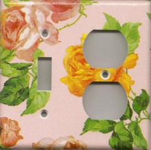 Roses - Pink - Double Combo Switch & Outlet
