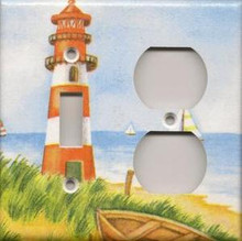Red Lighthouse with Boats - Double Combo Switch & Outlet